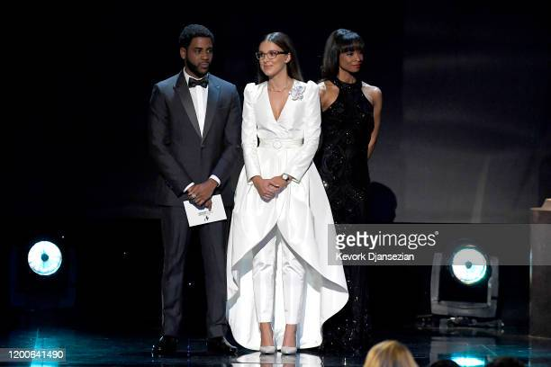Jharrel Jerome and Millie Bobby Brown speak onstage at the 26th Annual Screen ActorsGuild Awards at The Shrine Auditorium on January 19, 2020 in Los...