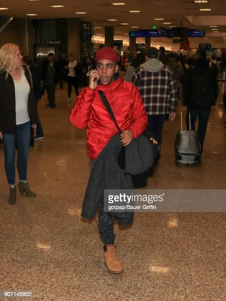 Jharrel Jerome is seen at Salt Lake City International Airport on January 18 2018 in Park City Utah