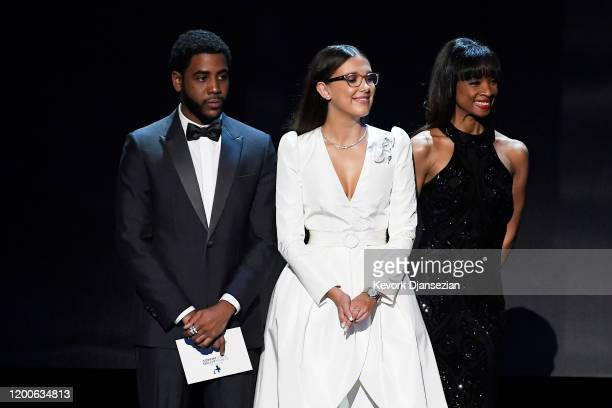 Jharrel Jerome, Millie Bobby Brown attend the 26th Annual Screen ActorsGuild Awards at The Shrine Auditorium on January 19, 2020 in Los Angeles,...
