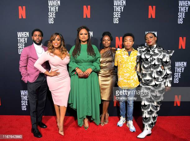Jharrel Jerome Niecy Nash Ava DuVernay Marsha Stephanie Blake Asante Blackk and Aunjanue Ellis attend Netflix's When They See Us Screening Reception...