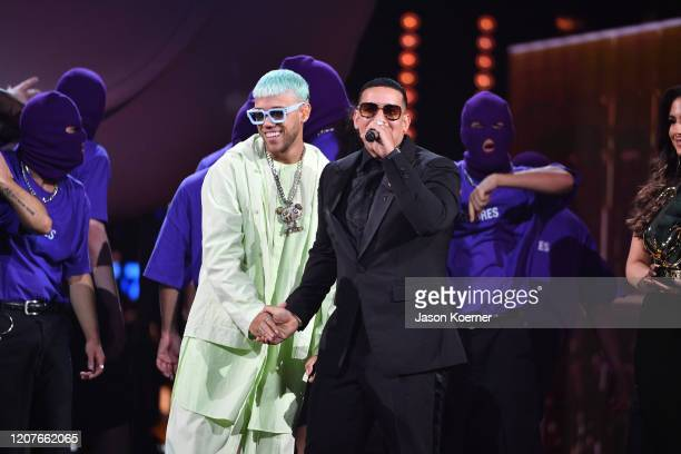 Jhay Cortez and Daddy Yankee on stage during Univision's Premio Lo Nuestro 2020 at AmericanAirlines Arena on February 20 2020 in Miami Florida