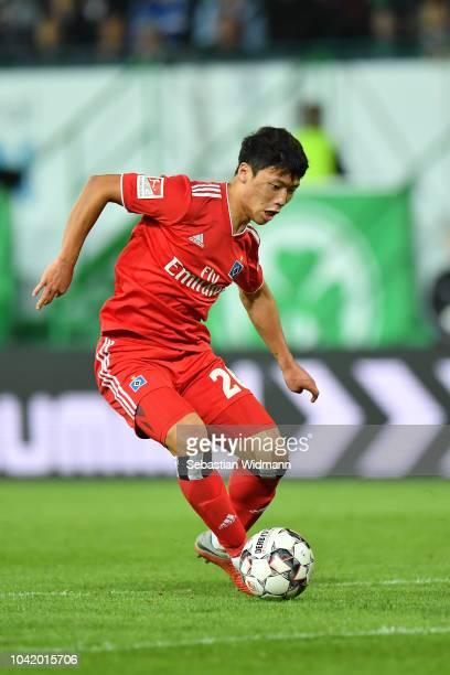 JHeechan Hwang of Hamburg plays the ball during the Second Bundesliga match between SpVgg Greuther Fuerth and Hamburger SV at Sportpark Ronhof Thomas...
