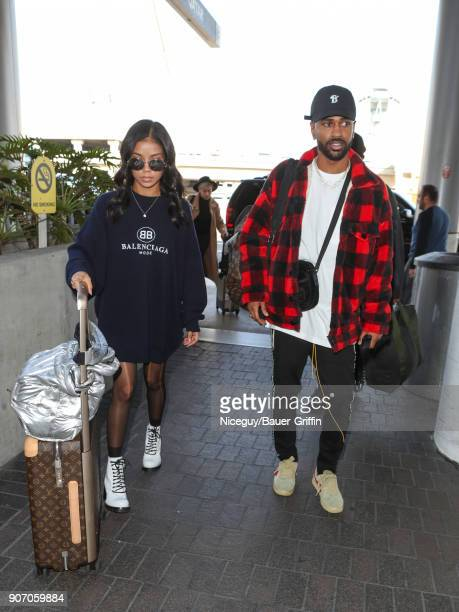 Jhene Aiko and Big Sean are seen at Los Angeles International Airport on January 18 2018 in Los Angeles California