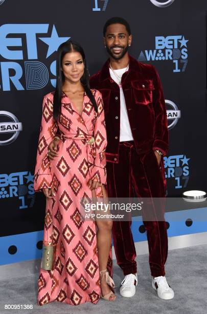 Jhene Aiko and rapper Big Sean pose upon their arrival at the BET Awards ceremony on June 25 in Los Angeles California / AFP PHOTO / CHRIS DELMAS