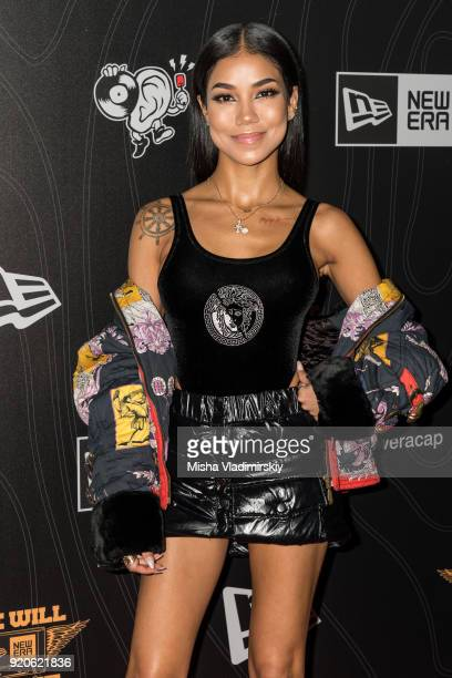 Jhene Aiko arrives on the red carpet at New Era All Star Event with Mike Will Made It and Rae Sremmurd on February 18 2018 in Los Angeles California