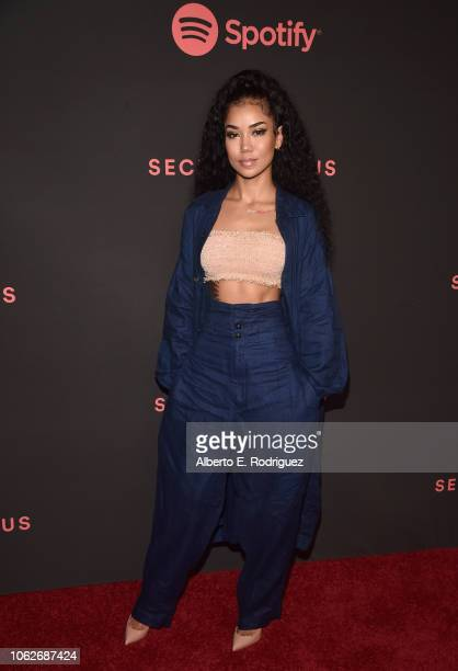 Jhene Aiko attends Spotify's Secret Genius Awards hosted by NEYO at The Theatre at Ace Hotel on November 16 2018 in Los Angeles California