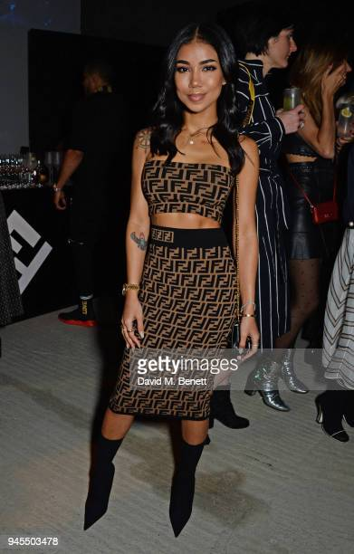 Jhene Aiko attends the FENDI FF Reloaded Experience on April 12 2018 in London England