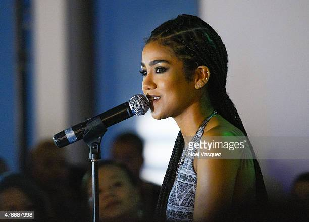 Jhene Aiko performs at Neff Headwear x PacSun presents Jhene Aiko's 'Soul of Summer' Collection at US Bank Tower on June 10 2015 in Los Angeles...