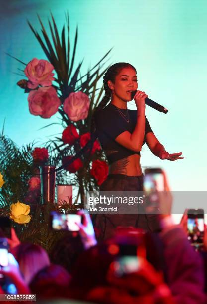 Jhene Aiko performs onstage during Metro By TMobile Presents Live In LA Powered By Pandora Featuring Cardi B And Jhené Aiko at Academy Nightclub on...