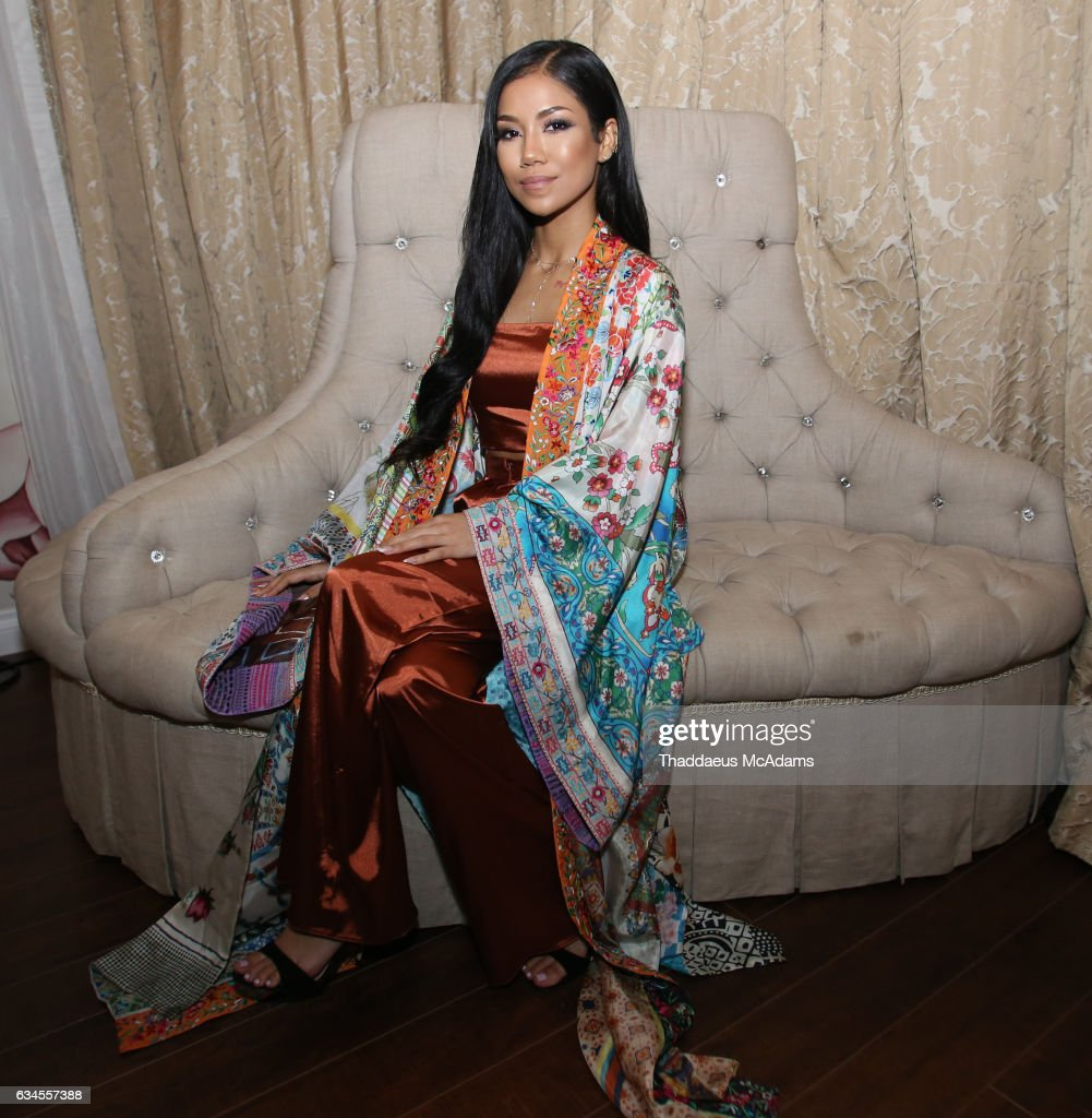 Jhene Aiko poses for a picture backstage at The MacArthur on February 9, 2017 in Los Angeles, California.