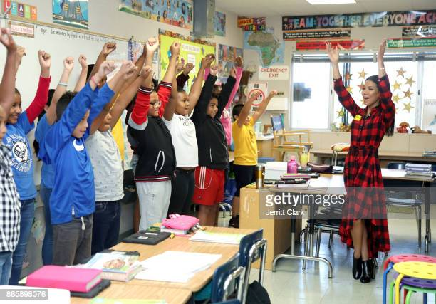 Jhene Aiko speaks with students as part of #PennysPen National Day on Writing Campaign with Get Schooled at Baldwin Hills Elementary School on...