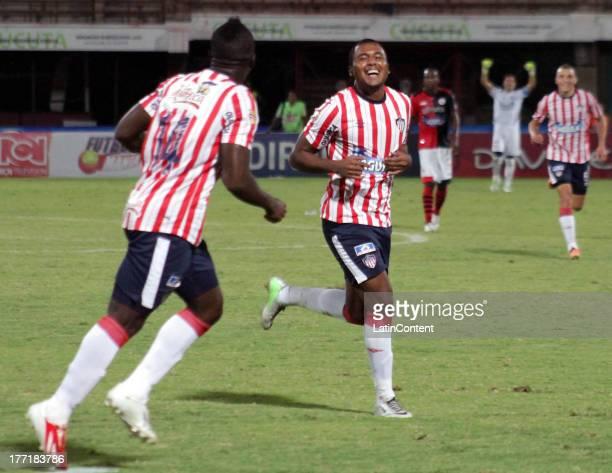 Jherson Cordoba of Junior celebrates a goal during a match between Cucuta and Junior as part of the Liga Postobon II at General Santander Stadium on...