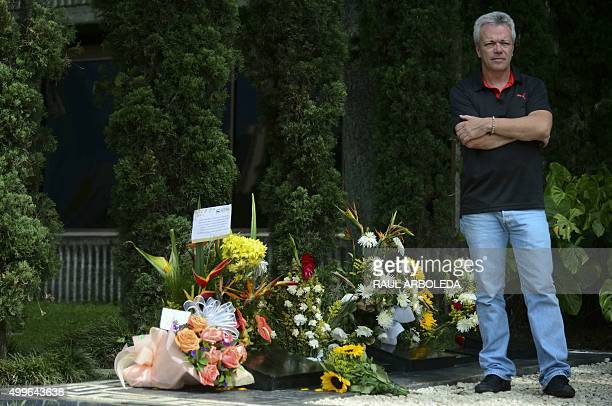 "Jhn Jairo Velasquez, A.K.A ""Popeye"", visits the tomb of Colombian drug lord Pablo Escobar at the Montesacro cemetery in Medellin, Antioquia..."