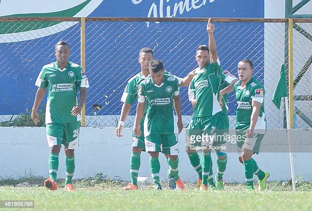 Jhoandres Perez of Valledupar FC celebrates the opening goal during a match between Valledupar and America de Cali as part of third round of second...