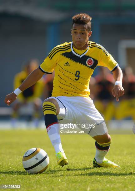 Jhoao Rodriguez of Colombia in action during the Toulon Tournament Group B match between Colombia and Qatar at the Stade De Lattre on May 28, 2014 in...