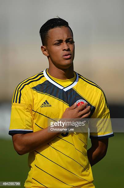Jhoao Rodriguez of Colombia sings his national anthem during the Toulon Tournament Group B match between Colombia and Qatar at the Stade De Lattre on...