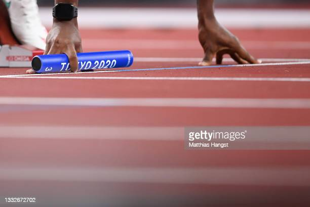 Jhon Alejandro Perlaza of Team Colombia prepares to compete in the Men's 4 x 400m Relay heats on day fourteen of the Tokyo 2020 Olympic Games at...