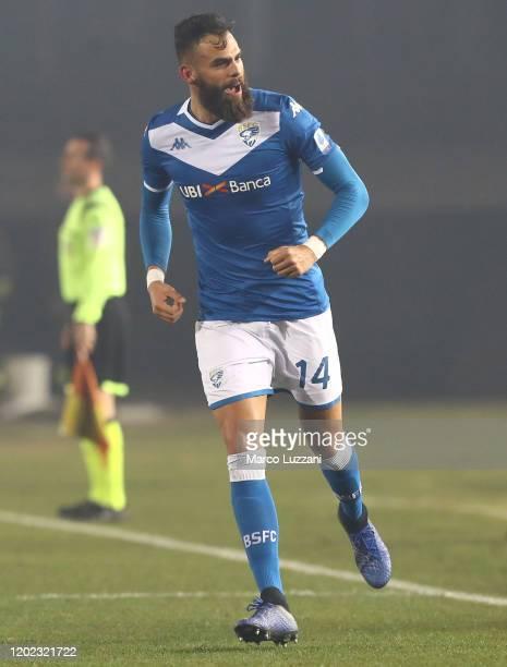Jhon Chancellor of Brescia Calcio celebrates after scoring the opening goal during the Serie A match between Brescia Calcio and SSC Napoli at Stadio...