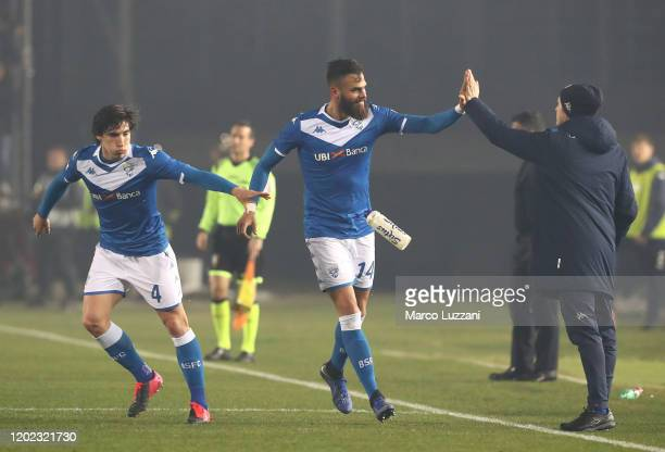 Jhon Chancellor of Brescia Calcio celebrates after scoring the opening goal during the Serie A match between Brescia Calcio and SSC Napoli at Stadio...