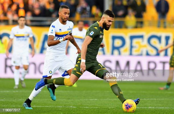 Jhon Chancellor of Brescia Calcio kicks the ball during the Serie A match between Parma Calcio and Brescia Calcio at Stadio Ennio Tardini on December...