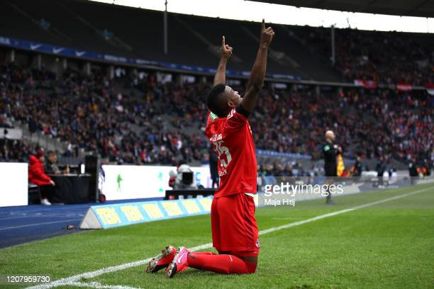 Jhon Cordoba of 1. FC Koeln celebrates after scoring his sides first goal during the Bundesliga match between Hertha BSC and 1. FC Koeln at...