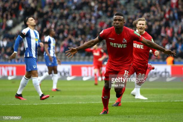 Jhon Cordoba of 1 FC Koeln celebrates after scoring his sides first goal during the Bundesliga match between Hertha BSC and 1 FC Koeln at...