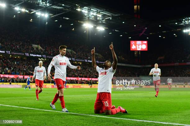 Jhon Cordoba of 1 FC Koeln celebrates after scoring his team's second goal during the Bundesliga match between 1 FC Koeln and FC Schalke 04 at...