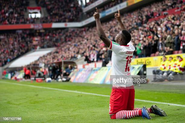 Jhon Cordoba of 1FC Koeln celebrates after scoring his team's third goal during the Second Bundesliga match between 1 FC Koeln and SpVgg Greuther...