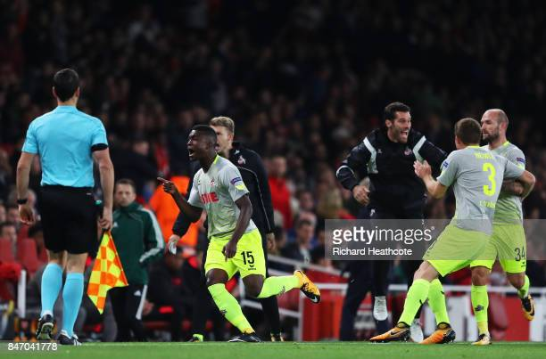 Jhon Cordoba of FC Koeln celebrates after scoring the first goal during the UEFA Europa League group H match between Arsenal FC and 1 FC Koeln at...