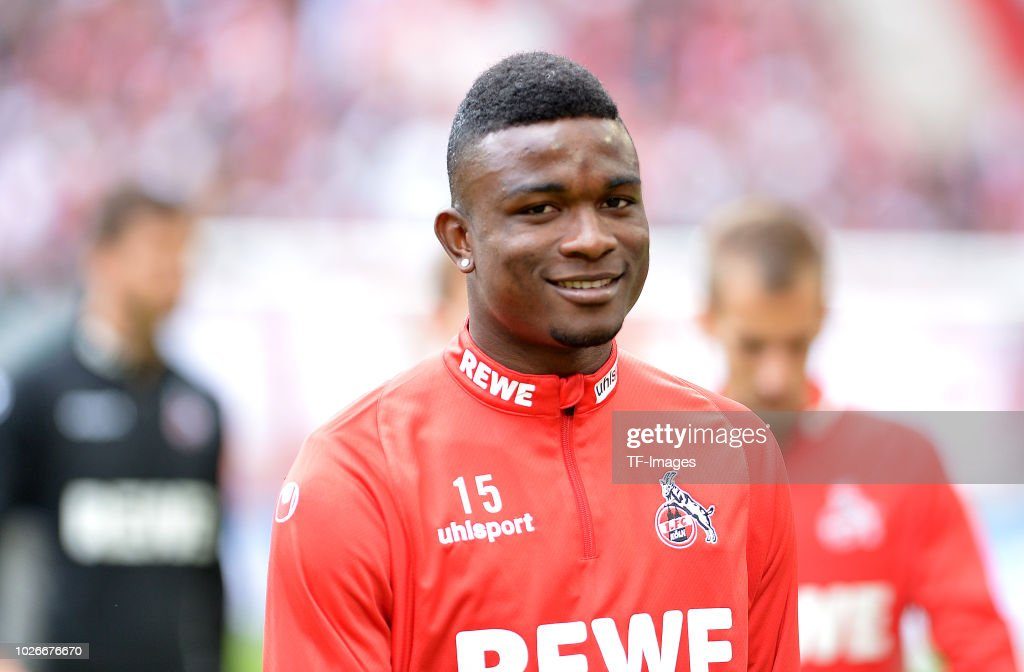 Jhon Cordoba of FC Koeln laughs during the second Bundesliga match between FC Koeln and FC Erzgebirge Aue at RheinEnergieStadion on August 25, 2018 in Cologne, Germany.
