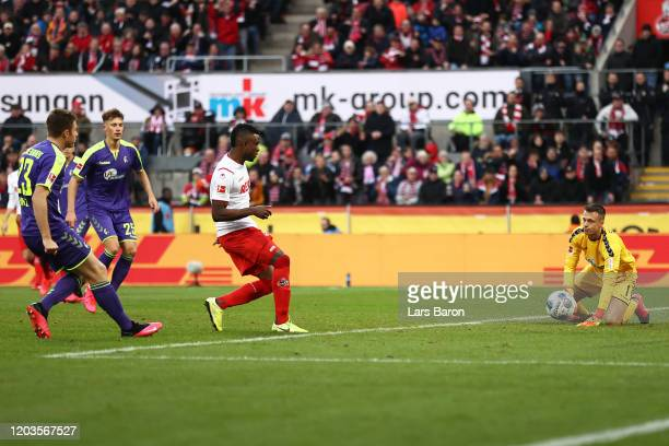 Jhon Cordoba of FC Koln scores his sides second goal during the Bundesliga match between 1. FC Koeln and Sport-Club Freiburg at RheinEnergieStadion...