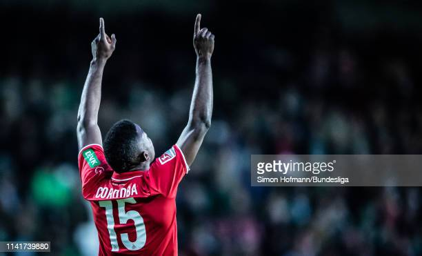Jhon Cordoba of Koeln celebrates a goal during the Second Bundesliga match between SpVgg Greuther Fuerth and 1 FC Koeln at Sportpark Ronhof Thomas...