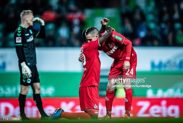 Jhon Cordoba of Koeln celebrates a goal with team mate Dominick Drexler during the Second Bundesliga match between SpVgg Greuther Fuerth and 1 FC...