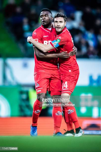 Jhon Cordoba of Koeln celebrates a goal with team mate Jonas Hector during the Second Bundesliga match between SpVgg Greuther Fuerth and 1 FC Koeln...