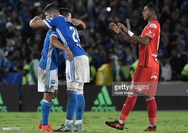 Jhon Duque Arias and Matias De Los Santos of Millonarios celebrate after the second leg match between Millonarios and America de Cali as part of the...