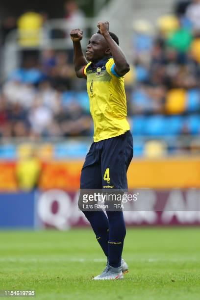 Jhon Espinoza of Ecuador celebrates after scoring his team's second goal the 2019 FIFA U20 World Cup Quarter Final match between USA and Ecuador at...