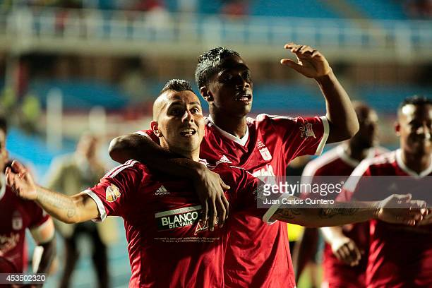 Jhon Freddy Gomez of America de Cali celebrates after scoring the opening goal during a match between America de Cali and Jaguares as part of Torneo...