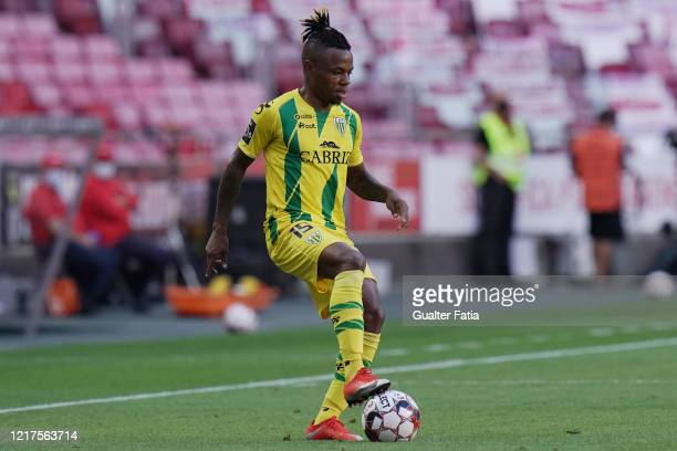 Jhon Murillo of CD Tondela in action during the Liga NOS match between SL Benfica and CD Tondela at Estadio da Luz on June 4 2020 in Lisbon Portugal