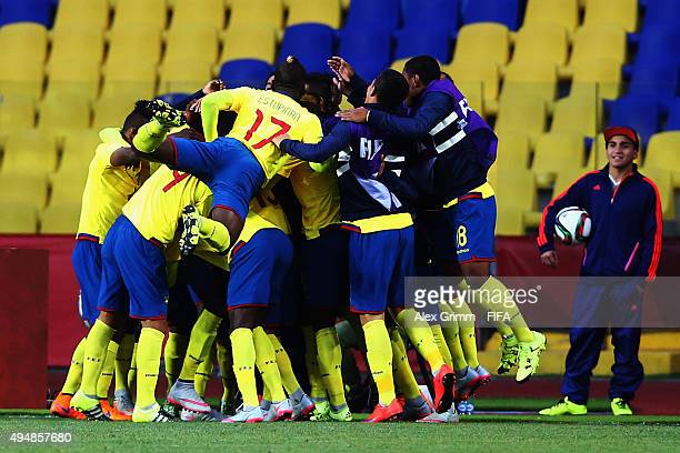Jhon Pererira of Ecuador celebrates his team's first goal with team mates during the FIFA U17 World Cup Chile 2015 Round of 16 match between Russia...