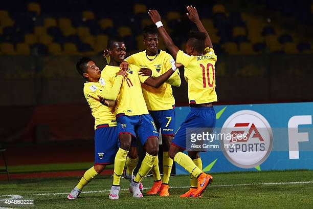 Jhon Pererira of Ecuador celebrates his team's third goal with team mates during the FIFA U17 World Cup Chile 2015 Round of 16 match between Russia...