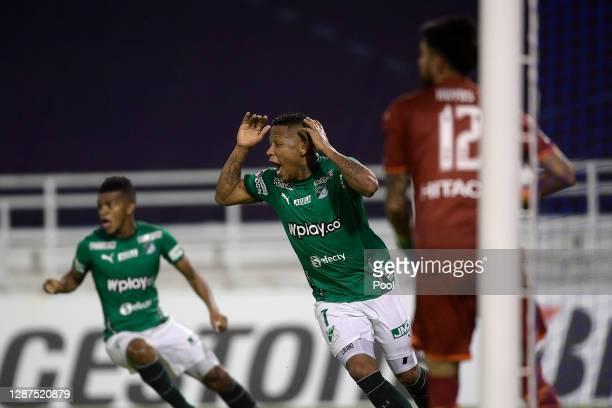 Jhon Vásquez of Deportivo Cali reacts after a goal was disallowed with VAR review during a round of sixteen first leg match between Velez and...