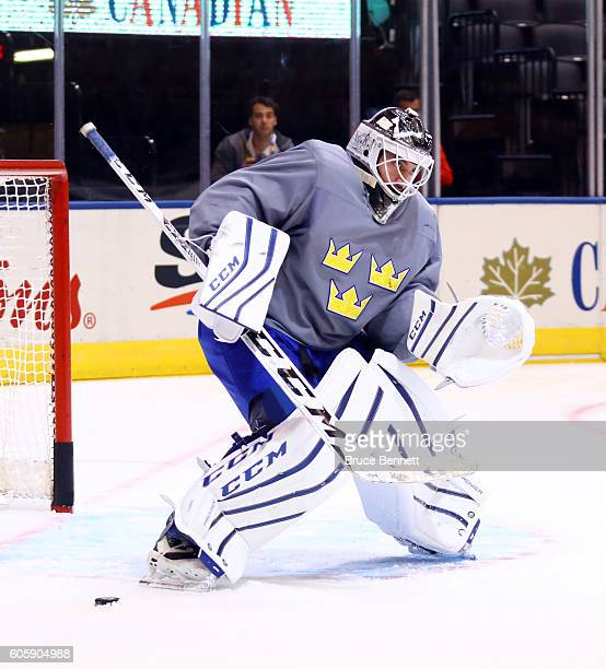 Jhonas Enroth of Team Sweden stops a shot at practice during the World Cup of Hockey 2016 at Air Canada Centre in Toronto Ontario Canada on September...