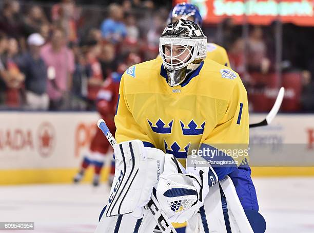 Jhonas Enroth of Team Sweden warms up prior to a game against prior to the game against Team Russia during the World Cup of Hockey 2016 at Air Canada...