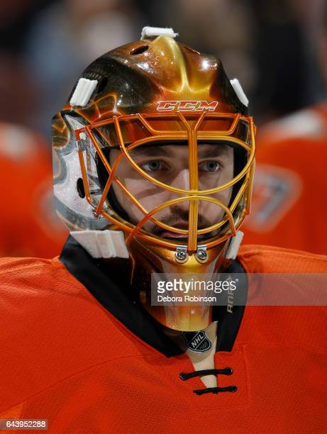 Jhonas Enroth of the Anaheim Ducks looks on during warmups before the game against the Boston Bruins on February 22 2017 at Honda Center in Anaheim...