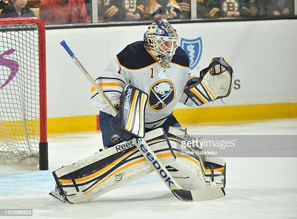 Jhonas Enroth of the Buffalo Sabres during warm ups prior to the game against the Boston Bruins at the TD Garden on April 7 2012 in Boston...