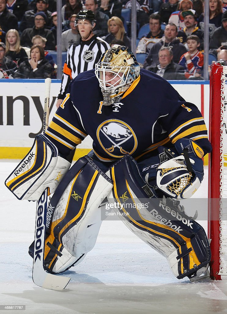 Jhonas Enroth of the Buffalo Sabres protects the net during the