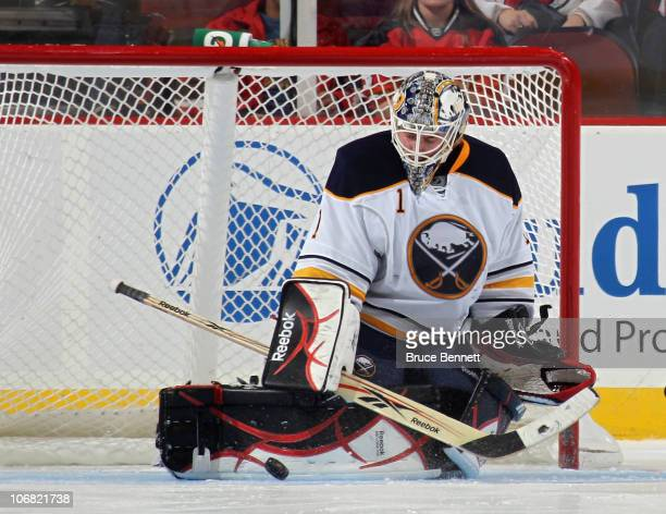 Jhonas Enroth of the Buffalo Sabres tends net against the New Jersey Devils at the Prudential Center on November 10 2010 in Newark New Jersey The...