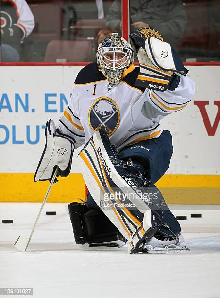 Jhonas Enroth of the Buffalo Sabres warms up prior to his game against the Philadelphia Flyers on February 16 2012 at the Wells Fargo Center in...