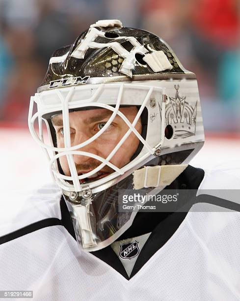 Jhonas Enroth of the Los Angeles King skates in warm up prior to the game against the Calgary Flames at Scotiabank Saddledome on April 5 2016 in...