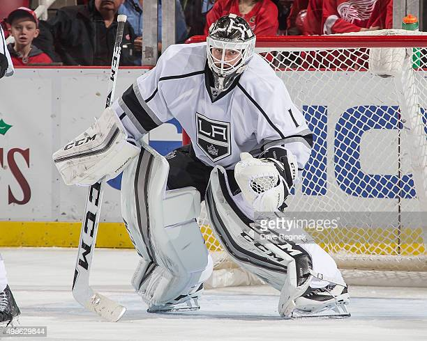 Jhonas Enroth of the Los Angeles Kings follows the play during an NHL game against the Detroit Red Wings at Joe Louis Arena on November 20 2015 in...